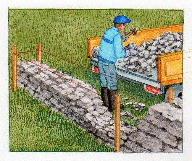 Construire un muret en pierres sèches