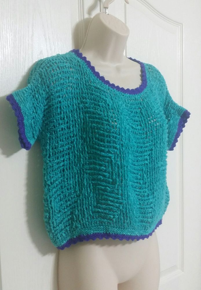 Handmade Crochet Custom Crop Top Open Knit Black Shirt Womens Size Small Medium | Clothing, Shoes & Accessories, Women's Clothing, Tops & Blouses | eBay!