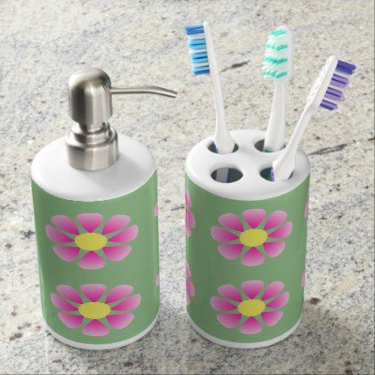 Pink daisy pattern bathroom set - floral style flower flowers stylish diy personalize