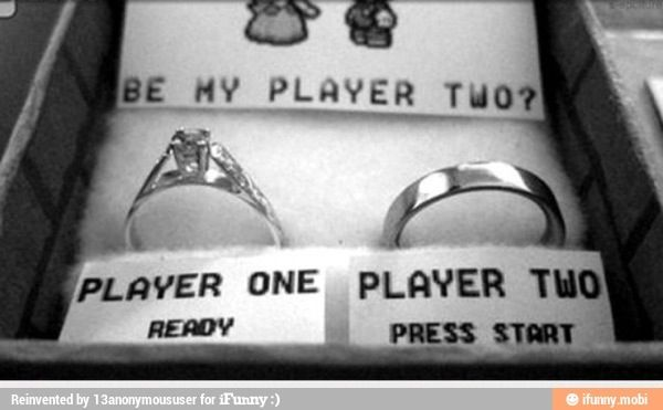 """This is the best thing in history for gamers like me and my boyfriend, I would cry and laugh so hard at the same time. Mario and Peach, but switch his ring to being ready and waiting for her to """"press start"""" in other words """"yes """"  :) LOVE THIS"""