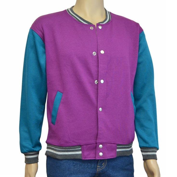 Varsity Jacket Purple Turquoise Blue