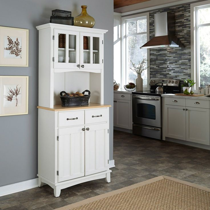 Home Styles Small Wood Bakers Rack with Two Door Hutch | from hayneedle.com - order in dark wood with stainless.