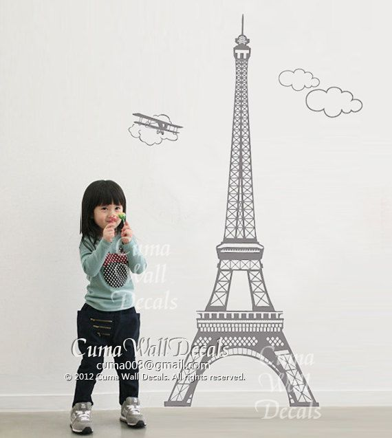Eiffel Tower Wall Decals Paris Vinyl Wall Decals Urban Wall Decal Children  Birthday Gift Wall Sticker Part 88