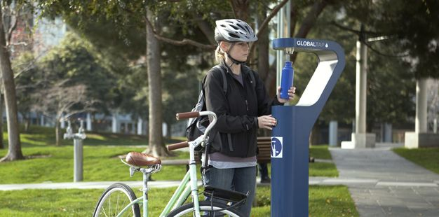 water bottle refill station park, design by ideo