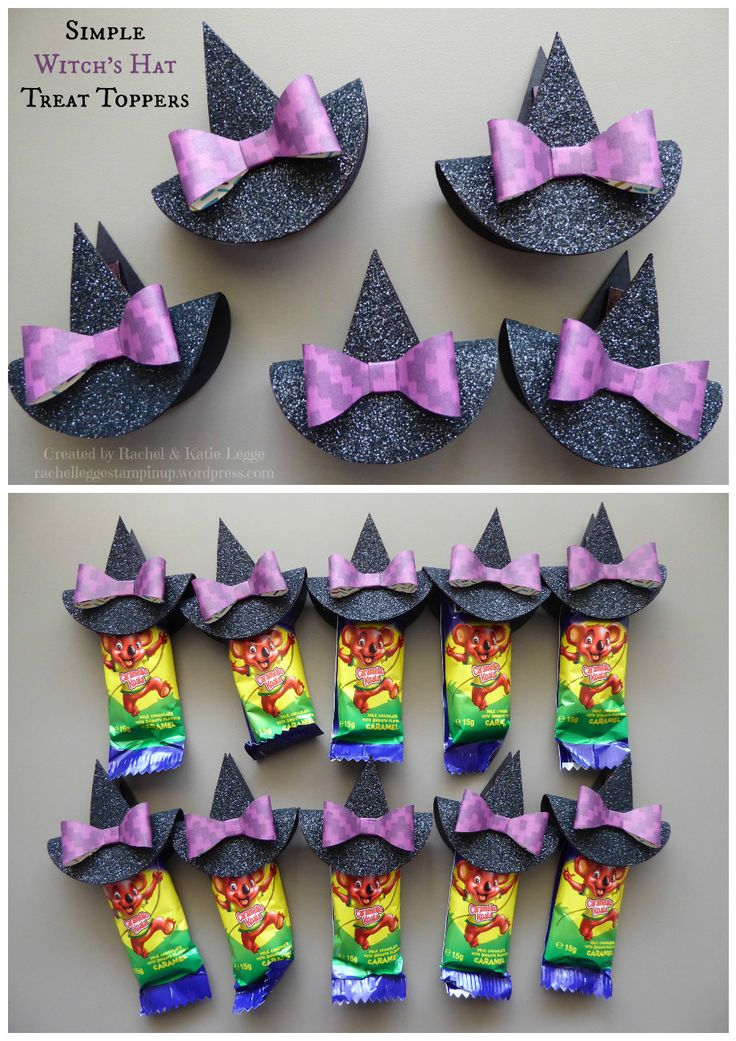 Simple and easy Halloween treat toppers {Click image for link to video tutorial} | Stampin' Up! witch's hat clothespin punch art | Inspired by Janet Baker | Created by Rachel and Katie Legge rachelleggestampinup.wordpress.com