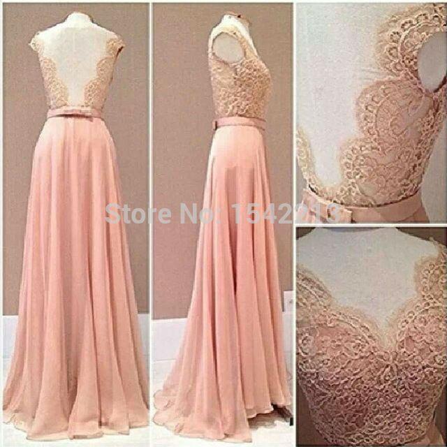 Lace Rude Style Prom Dress Blush Pink Chiffon Evening Gowns