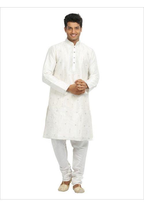 White Party Wear Art Silk Kurta