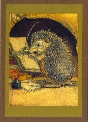 Charles van Sandwyk hedgehog illustration. From 'Affairs of the Heart' via www.cvsfinearts.com