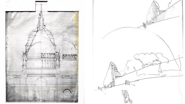 Cross-section of St Paul's by Christopher Wren (c1673); studies from sketchbooks by Alvaro Siza (1970s)