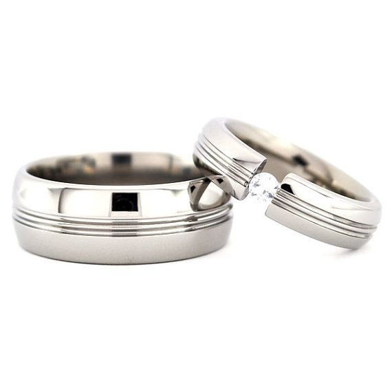 New Matching Titanium Wedding His and Her's by RenaissanceJewelry, $54.99
