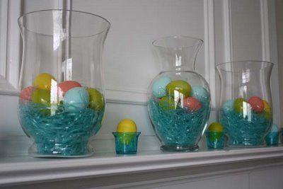 grass and eggs inside hurricane or glass vase, so cute