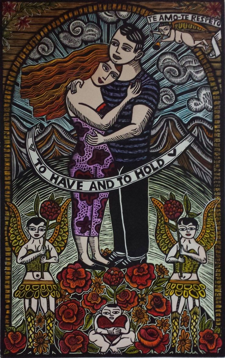 "Rust-en-Vrede Gallery – ART EXCHANGE: MEXICO - Participating SA Artist Michele D'Argent ""To Have and to Hold"" Hand Coloured Woodblock Print"