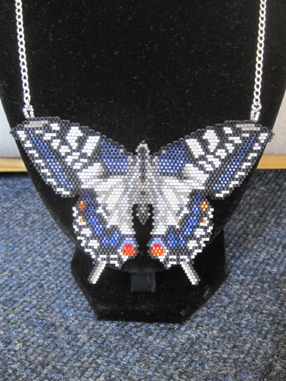 Large Swallowtail Butterfly Beaded Pendant & 2023.5 by Ringallure