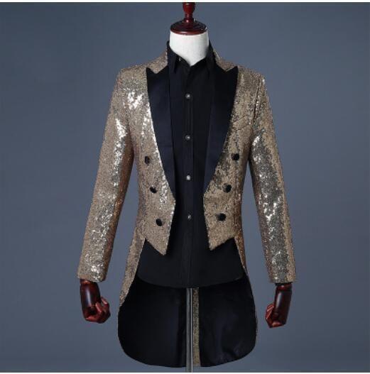 Men Tuxedo Bling Glitter Suit Jacket Formal Vogue Tail Coat Club Wedding  Dress b4f70d4c0d55
