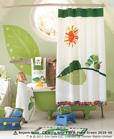 Kids bathroom!Kids Bathroom, Pottery Barn Kids, Bathroom Ideas, Hungry Caterpillar, Shower Curtains, Eric Carl, Kid Bathrooms, Baby Bathroom, Pottery Barns