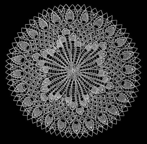 part of Laci's collection, knitted lace with pearle cotton and 1.5mm knitting needles