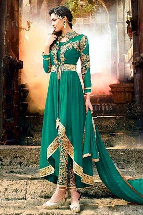 Green Georgette Anarkali Trouser Suit Online  http://www.andaazfashion.co.uk/salwar-kameez/anarkali-suits