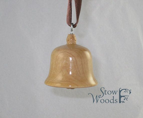 Wood Turned Christmas Ornament - Maple or Walnut Bell Ornament I want one of these!