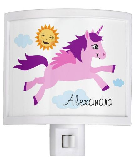 Pink unicorn with wings, sun and blue clouds night light Cute night light featuring a cartoon illustration of a little pink and purple unicorn with wings. Around her are blue clouds and a happy, smiling sun. Personalized name. Fun design for girls.