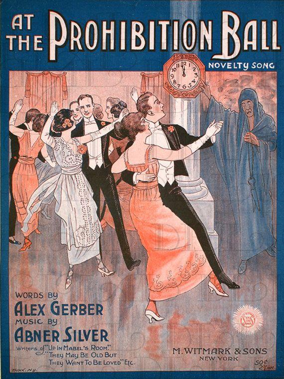 The PROHIBITION Ball.  Deco Flapper Sheet Music. VINTAGE Digital ILLUSTRATION. Digital Download. Vintage Digital Print