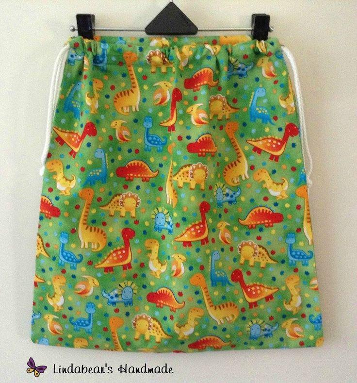 Handmade by Lindabear's Handmade  Green Dinosaur Drawstring Library book/Toy Bag