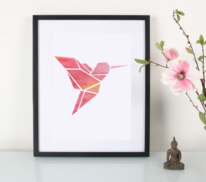 Kunstdruck Aquarell Origami Kolibri // artprint watercolor  humming-bird by EULENSCHNITT via DaWanda.com
