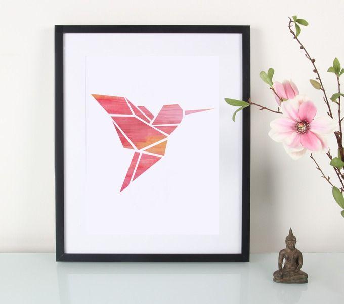 Artprint / Origami / Kolibri / Aquarell von EULENSCHNITT auf DaWanda.com