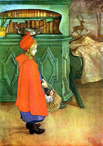 By Carl Larsson. Looks like Red Riding Hood to me.