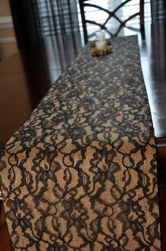 Black Lace and Burlap Table Runner (8')  - Lace Over Burlap Table Runner - Rustic Wedding Table Runner - this has a cool look @Amber Singleton