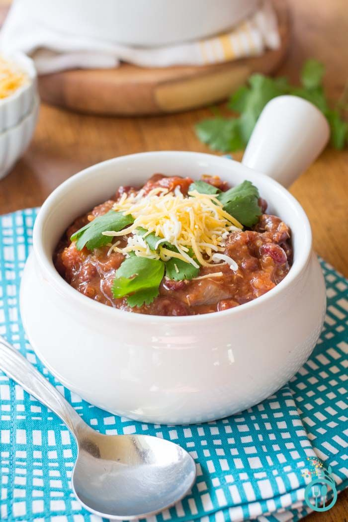 This healthy, vegetarian quinoa chili is made in a crock pot and spiced up with fresh habanero peppers, but is easily adapted to suit your tastes.