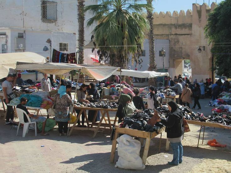 A used clothing market operates just inside Bab El Kasbah at Sfax, Tunisia.