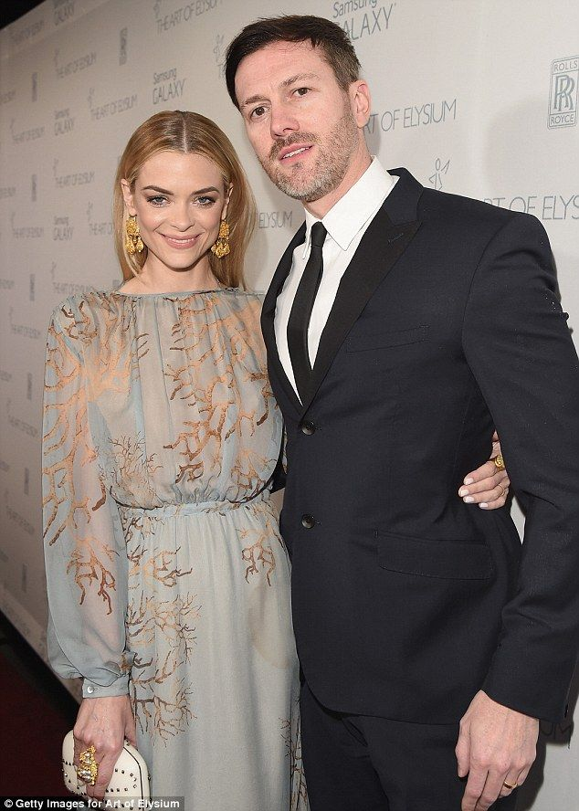 Elegant: Jaime King was joined by her husband Kyle Newman as she wore a semi-sheer long-sl...