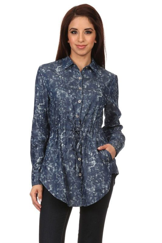 Dashing Denims Marled Button Front Collared Top w/Self Tying Cinched Waist!