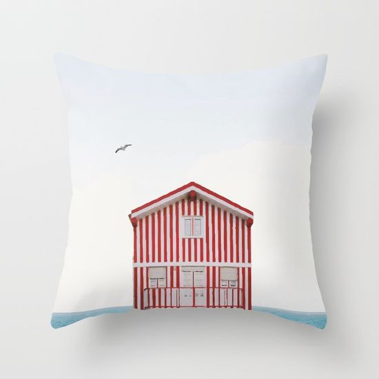 Beach cottage Throw Pillow by Gaiadesign. Worldwide shipping available at Society6.com. Just one of millions of high quality products available.
