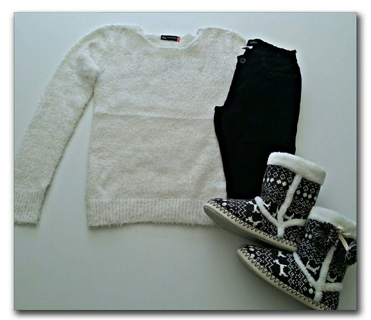White fluffy sweater, black jeans, slippers #ootd #fashion #whatiwore #mystyle #mylook #casual #mylookbook #outfitinspiration #fashionflatlay