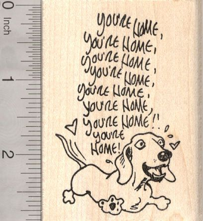 Missing you Dachshund Rubber Stamp Excited Dog by Rubberhedgehog