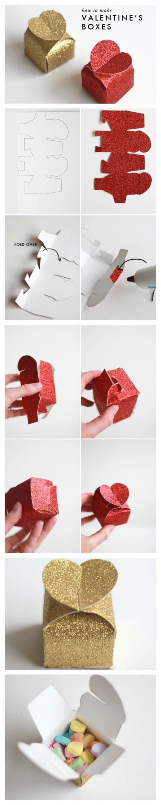 How to make glitter Valentine's heart boxes