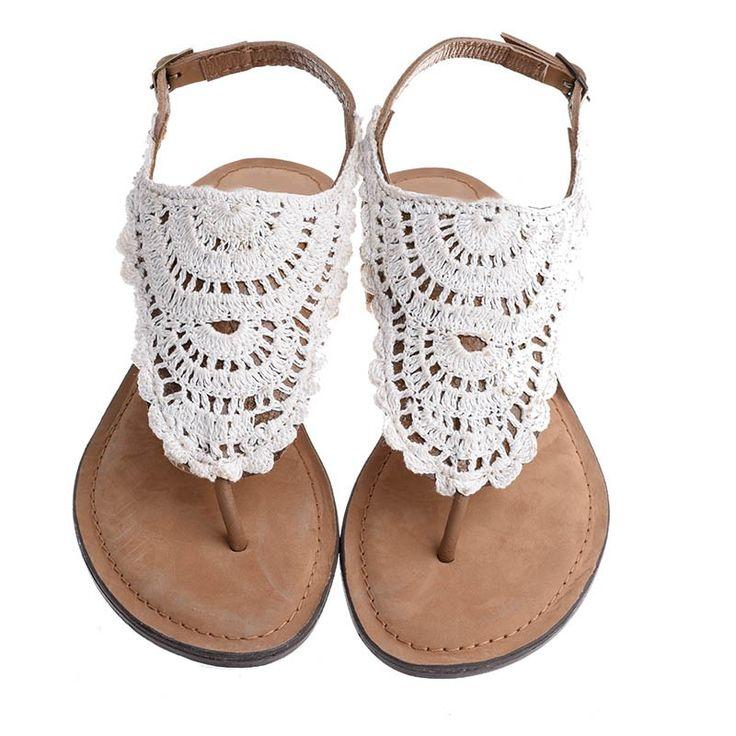 LEATHER SANDAL W/ LACE - Sandals