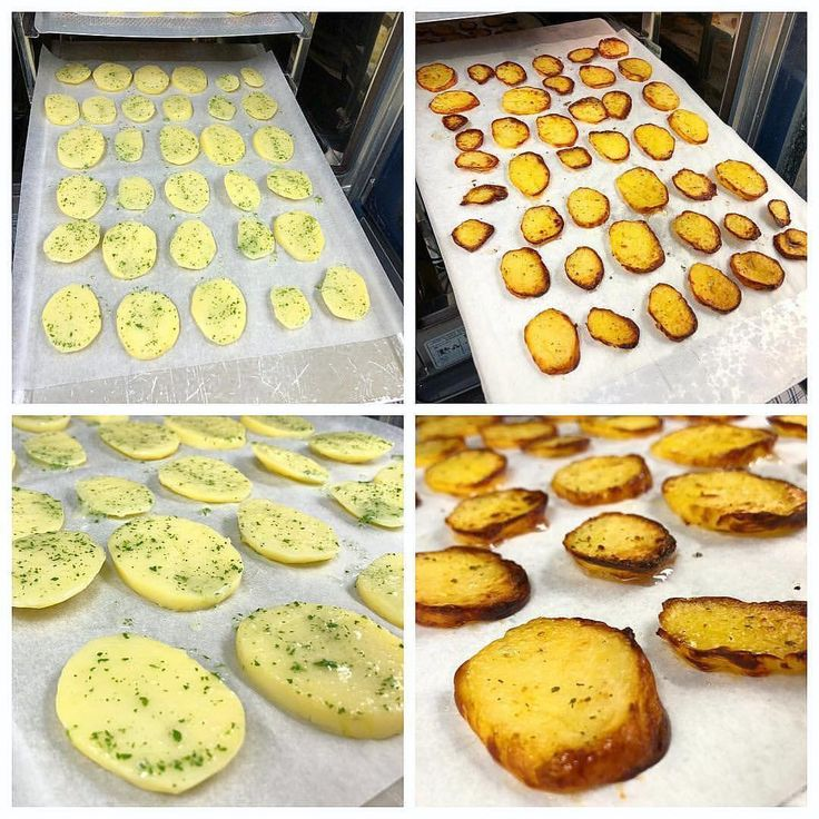 """Recept matiga """"potatis chips"""": ⠀ 🔹Skiva potatis.⠀ 🔹Lägg skivor på en plåt med bakplåtspapper.⠀ 🔹Salta och """"peppar mixa"""". ⠀ 🔹Mixa vitlök, persilja och olja och pensla på potatisen.⠀ 🔹Ställ in i ugnen på 175'c i ca. 25-30min. ⠀ 🔹Ta ut, salta lite på potatisen sen är de klara att servera som tillbehör.⠀ #potatis #potatischips #myrecipe #ugnsrostad #ugnsbakad #matsmart"""