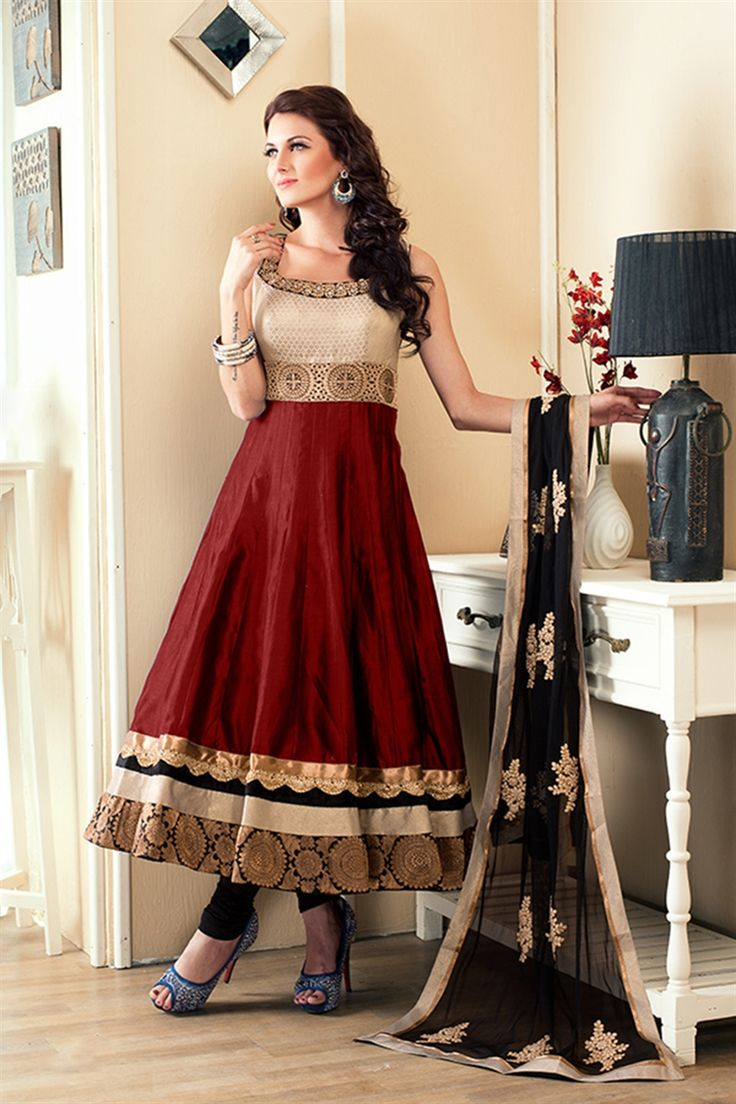 Elegant maroon anarkali suit with pearl work