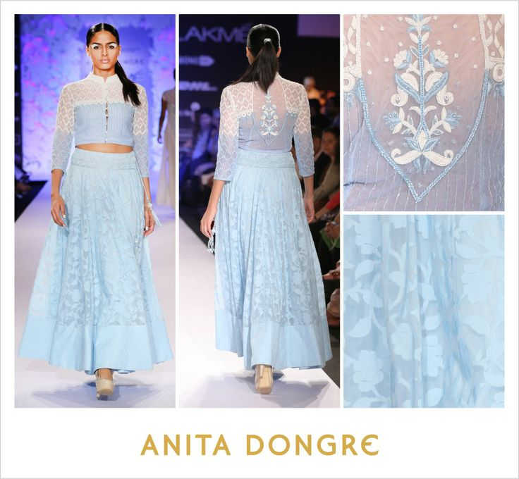 The iconic flared skirt, paired here with a crop top gets the Varanasi weaves touch. #Varanasi #Weaves #LakmeFashionWeek To buy online - http://shop.anitadongre.com/runway-special/lfw-2014/crop-top-with-flared-skirt-3816.html
