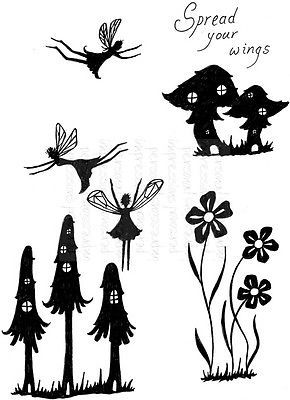 Fairies Silhouettes Mushrooms Flowers Spread Your Wings Fly Fairy 5 craft stamps