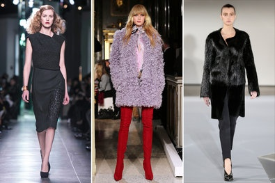 Milan Fashion Week, Fall 2013.  From left: BOTTEGA VENETA A wool twill dress with a knit bodice set at a diagonal; EMILIO PUCCI A shearling coat over thigh-high suede boots; JIL SANDER  A beaver coat, longhaired on the top, shirred below.