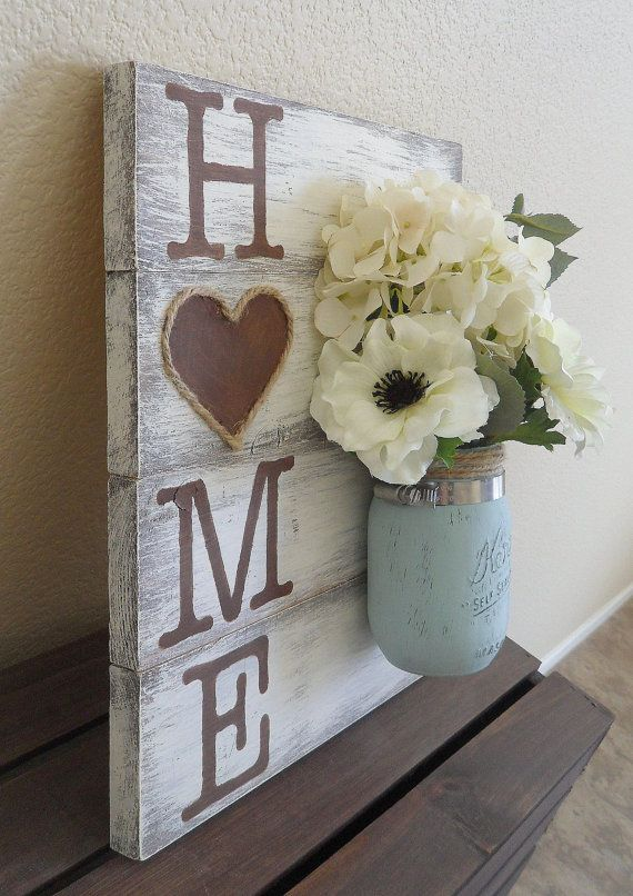 Mason Jar Wood Wall Hanging, Home Sign, Home Decor, Distressed, Hand Painted…