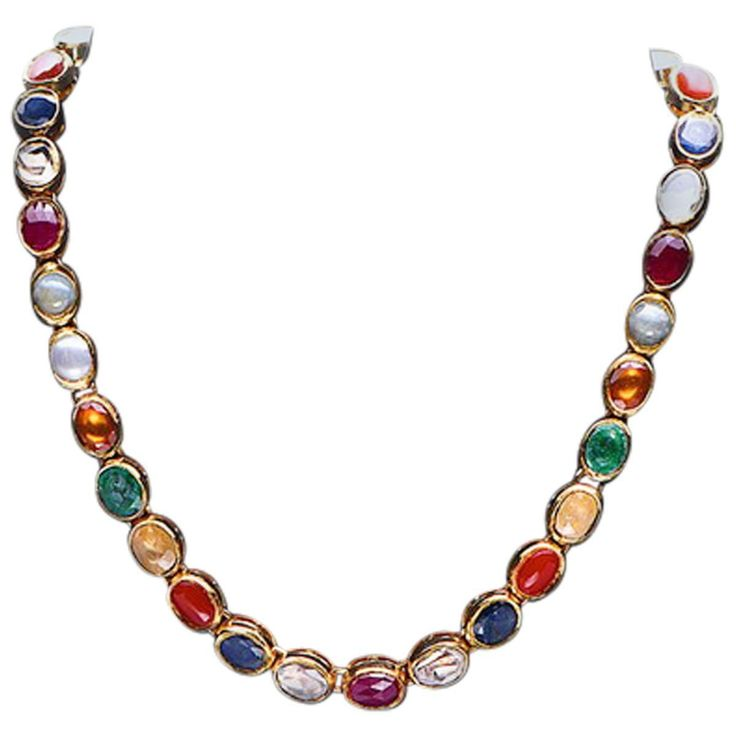 Gold Necklace with Navaratna Stones  | See more rare vintage Choker Necklaces at https://www.1stdibs.com/jewelry/necklaces/choker-necklaces