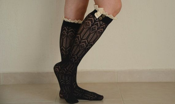 Hey, I found this really awesome Etsy listing at https://www.etsy.com/listing/167873104/black-knit-lace-boot-socks-leg-warmers