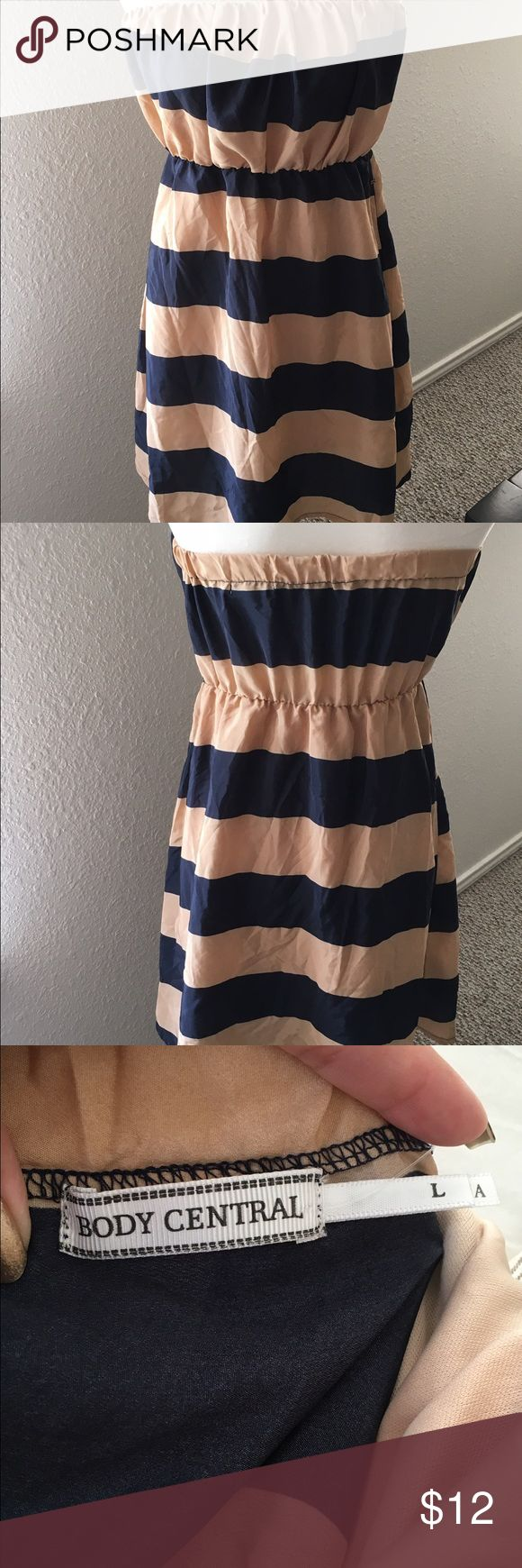 Juniors Body Central size L navy & tan dress Scrunchy tube top dress, light weight and just beautiful. Great with flats! ⭐️don't forget to bundle Body Central Dresses Mini