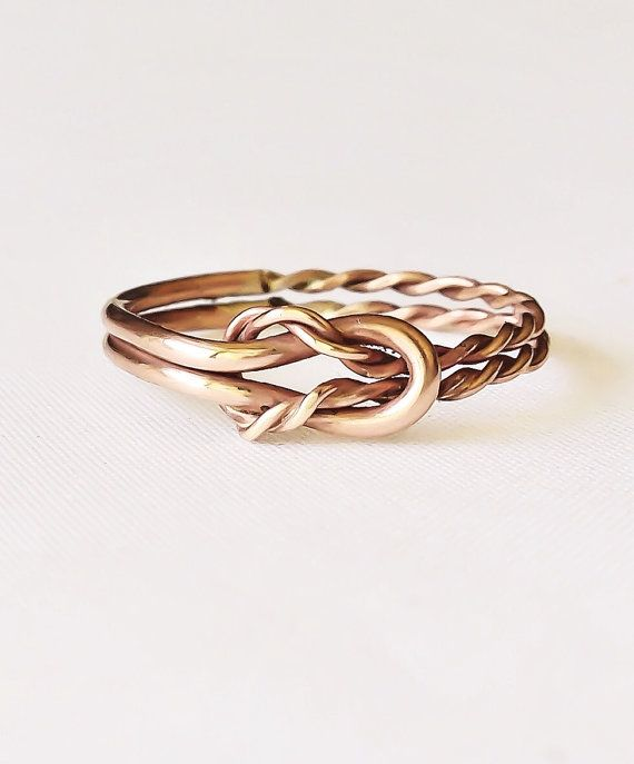 Reef knot ring, celtic knot, double infinity ring, rose gold, trending rings