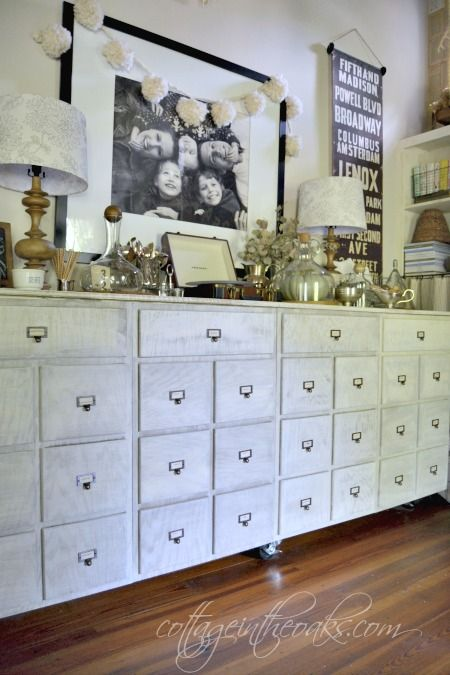 DIY Vintage Card Catalog Sideboard from Cottage In The Oaks