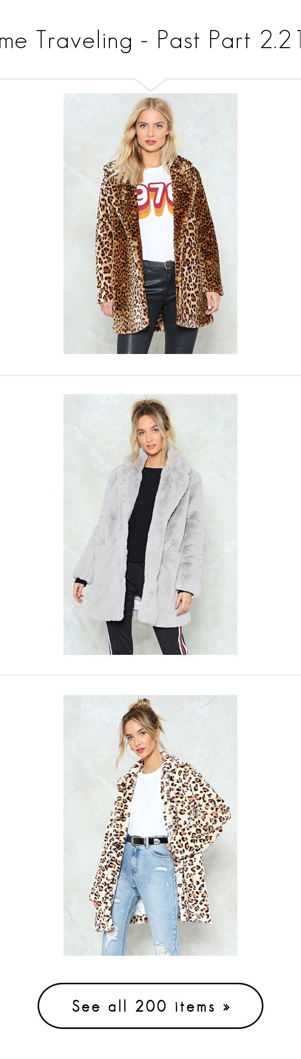 """""""Time Traveling - Past Part 2.214"""" by my-shiny-shackles on Polyvore featuring past, outerwear, coats, brown, fake fur lined coats, faux fur lined coat, fake fur leopard coat, nasty gal, animal coat and grey"""